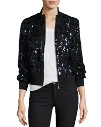 Rebecca Taylor Sequined Silk Bomber Jacket Multi