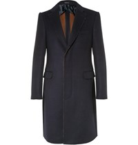 Alexander Mcqueen Slim Fit Raw Edged Double Faced Wool And Silk Blend Coat Blue