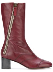Chloe 'Lexie' Mix Calf Boots Red