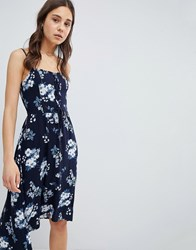 Hollister Floral Print Midi Dress With Lace Detail Blue Print