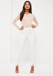 Missguided White Skinny Fit Cigarette Trousers