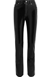 Helmut Lang Patent Leather Straight Leg Pants Black