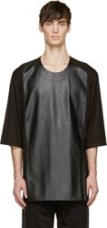 D By D Black Oversized Leather Mesh T Shirt