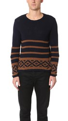 Barena Striped Crew Sweater Navy Brown