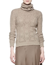 Ralph Lauren Textured Cashmere Turtleneck Sweater Taupe Melange