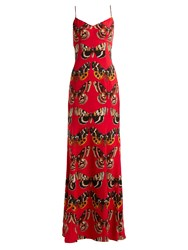 Dolce And Gabbana Butterfly Print Satin Gown Red Print