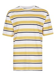 Topman Yellow Mustard Navy And White Stripe Oversized T Shirt