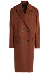 Jil Sander Double Breasted Wool And Cashmere Blend Coat Brown
