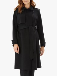 Jaeger Houndstooth Wool Trench Coat Black