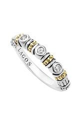Women's Lagos Three Diamond Stacking Ring Silver Gold