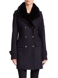 Moose Knuckles Rabbit Fur Collar Double Breasted Coat Navy