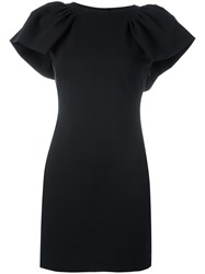 Armani Jeans Ruffled Shoulders Fitted Dress Black
