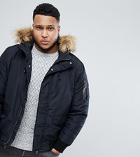 Only And Sons Plus Padded Jacket With Removable Faux Fur Hood Black