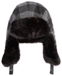Levi's Men's Buffalo Plaid Trapper Hat With Faux Fur Trim Black Gray