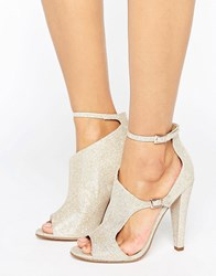 Little Mistress Cut Out Glitter Peep Toe Heeled Sandal Nude Beige
