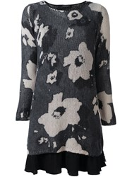 Twin Set Floral Pattern Sweater Dress Black