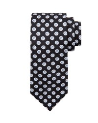 Stefano Ricci Medium Flower Printed Silk Tie Black White