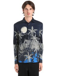 Etro Hawaiian Fluid Cotton Shirting Shirt Blue