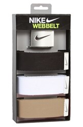 Men's Nike Web Belts Black White Tan Assorted 3 Pack