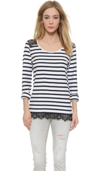 Maison Scotch Striped Lace Pullover Black White
