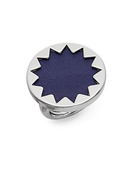 House Of Harlow Core Leather Sunburst Ring Silver