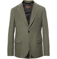 Tod's Green Cotton Moleskin Suit Jacket