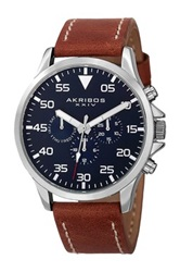 Akribos Xxiv Men's Swiss Quartz Multifunction Leather Strap Watch Metallic