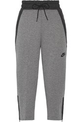 Nike Shell Trimmed Tech Fleece Cotton Blend Track Pants Gray