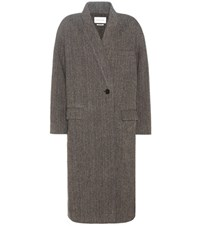 Etoile Isabel Marant Henley Virgin Wool Tweed Coat Grey