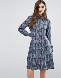 Lavand Printed Shirt Dress Blue Multi