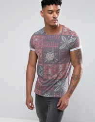 Asos T Shirt With All Over Retro Tile Print Black