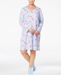 Charter Club Plus Size Printed Sleepshirt And Socks Set Only At Macy's Winter Bird