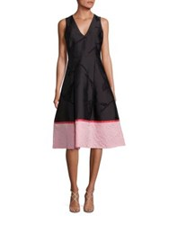 Sachin Babi Frances Matelasse Lace Inset Dress Onyx