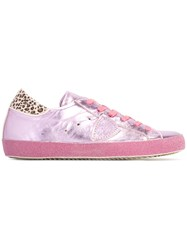 Philippe Model Leopard Print Lace Up Sneakers Pink Purple