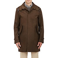 Barneys New York Men's Water Resistant Raincoat Dark Green