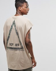 Asos Super Oversized Sleeveless T Shirt With Camo Triangle Back Print Silver Mink