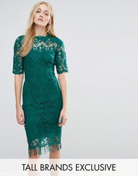 Paper Dolls Tall All Over Lace Dress With Contrast Lining And Tassel Hem Emerald Green