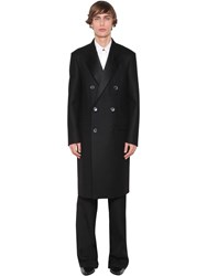 Givenchy Double Breasted Raw Cut Wool Coat Black