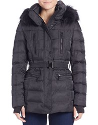 Vince Camuto Faux Fur Trimmed Puffer Jacket Black