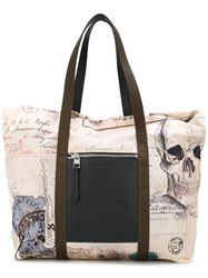 Alexander Mcqueen India Print Shopping Tote Men Leather Polyamide One Size Nude Neutrals