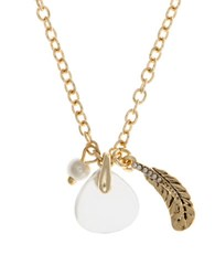 Lonna And Lilly 4Mm Faux Pearl Semi Precious Reconstituted April Birthstone Charm Necklace Gold