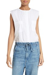 Vince Women's Side Slit Crop Shell White