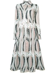 Sophie Theallet Leaf Print Shirt Dress White
