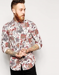 Sisley Shirt With Floral Paisley Print In Slim Fit Multi