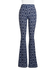 Vintage Havana Printed Bells Flared Pants Navy White