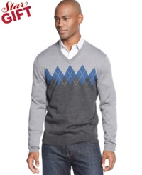 Club Room Big And Tall Merino Blend V Neck Argyle Sweater Ash Grey Heather