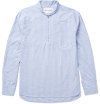 Our Legacy Shawl Collar Striped Cotton Blend Poplin Half Zip Shirt Blue