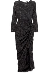 Veronica Beard Amara Crystal Embellished Ruched Silk Midi Dress Black