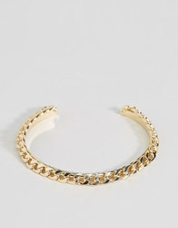 Asos Limited Edition Double Curb Chain And Cuff Bracelet Gold