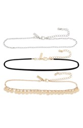 Topshop 3 Pack Choker Necklaces Gold